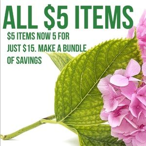 GREAT SALE ON ALL $5 ITEMS. NOW 5 for just $15